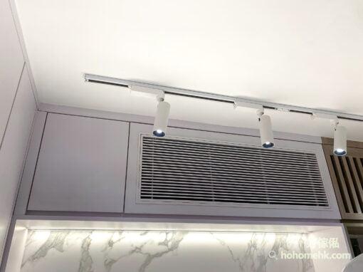 把冷氣機藏在吊櫃裡