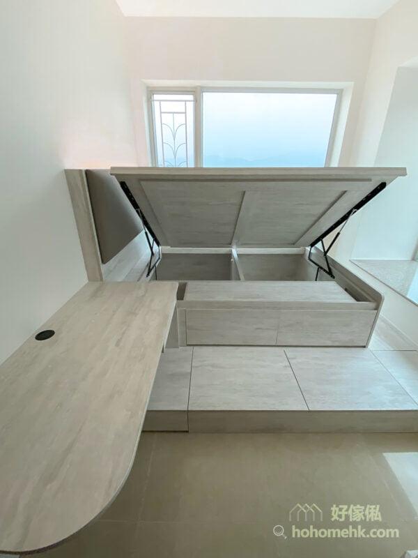 油壓床連地台及書枱/梳妝枱, 半地台分開睡眠空間更舒適