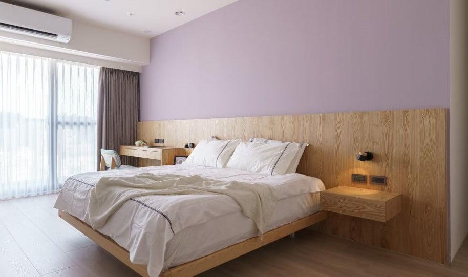 簡單造型的層板或懸空式的設計,不只同樣能做到床頭櫃的功能,更讓房間多了一份輕盈感與空間感