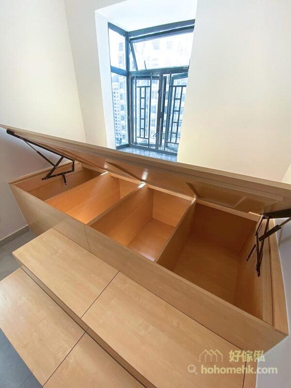 加高地台設計可創造出更大更高的儲物間和更舒適的睡眠體驗