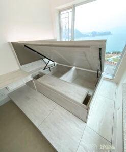 油壓床連地台及書枱/梳妝枱, 一張油壓床包辦睡房所有收納