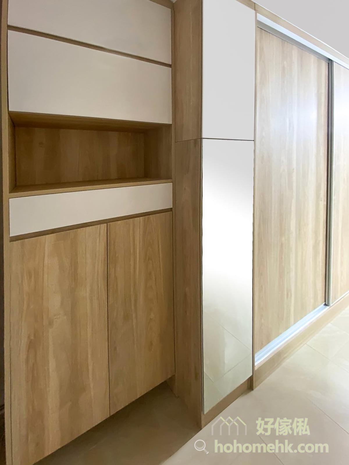 客廳玄關櫃/鞋櫃/衣櫃/儲物櫃/電視櫃/書枱/書櫃, 由入門位置的玄關櫃,沿路走入客廳的是一整列的鞋櫃及衣櫃,再到電視櫃,是按照動線及生活習慣的最好的設計