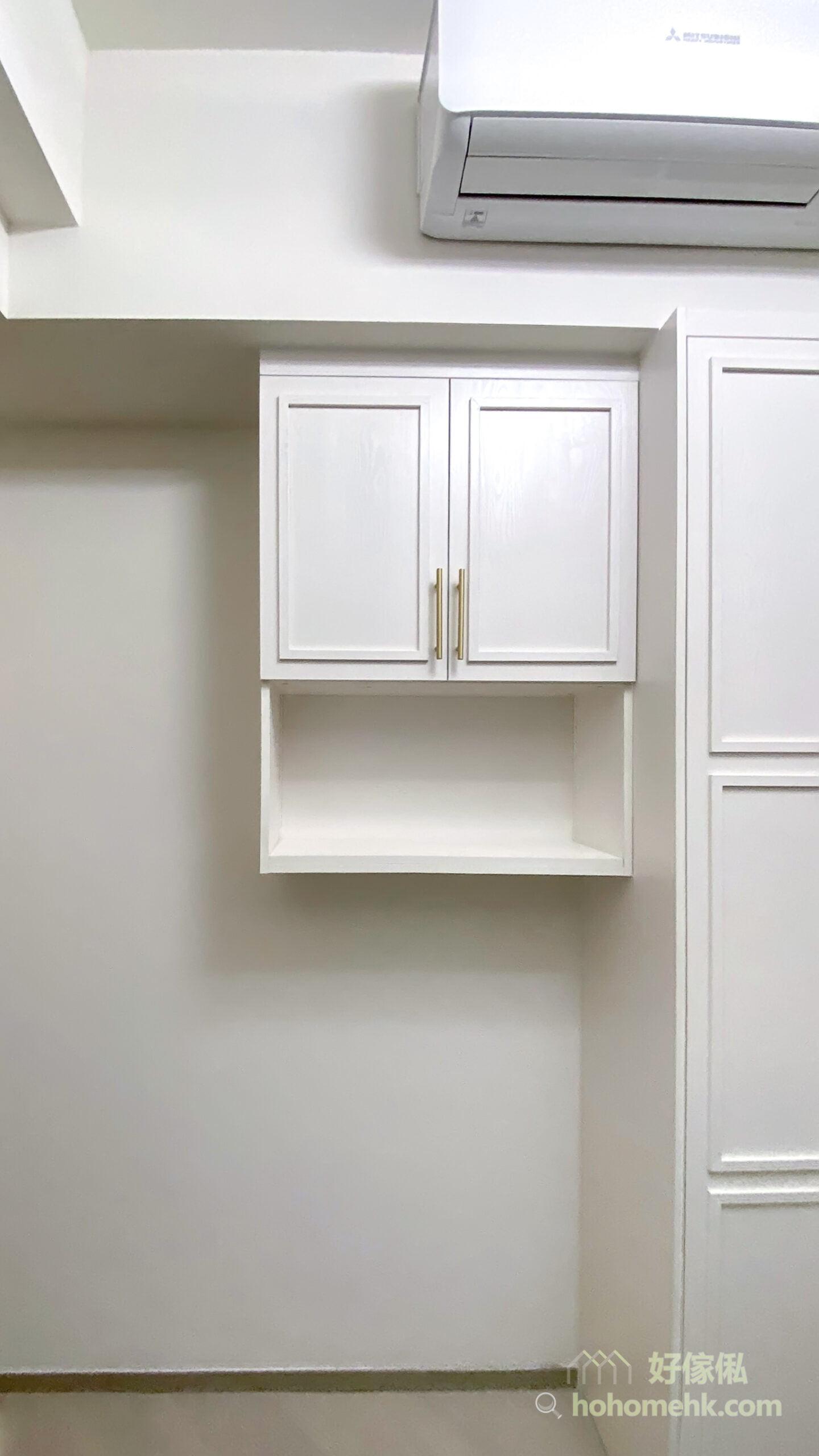 掩門與櫃身貼合好,兩道掩門中間亦可加裝防塵條,整體的封閉性較好,防塵效果自然比趟門衣櫃好,更適合愛乾淨的主人