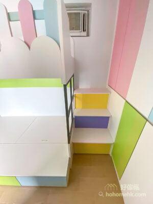 兒童房的碌架床,選擇以樓梯櫃上落絕對比爬梯安全可靠,好玩又好用