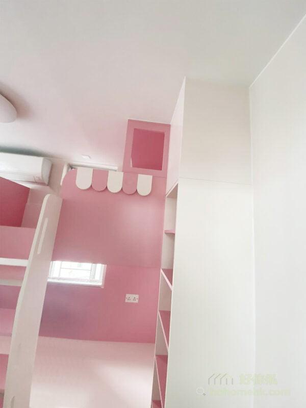 粉紅色與白色組成最夢幻的組合床/碌架床/上下格床, 小屋頂設計讓小孩更有安全感