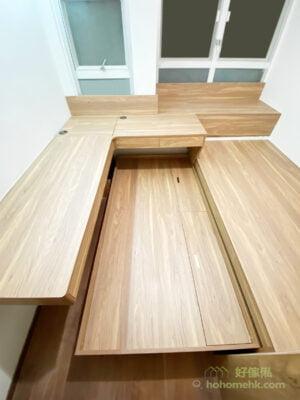 子母床比隱形床優勝的地方是,子母床不用佔據牆面的空間,而且床底空間是地台儲物箱,將來即使不再需要使用下層的子床,它依然有儲物功能,不會浪費空間