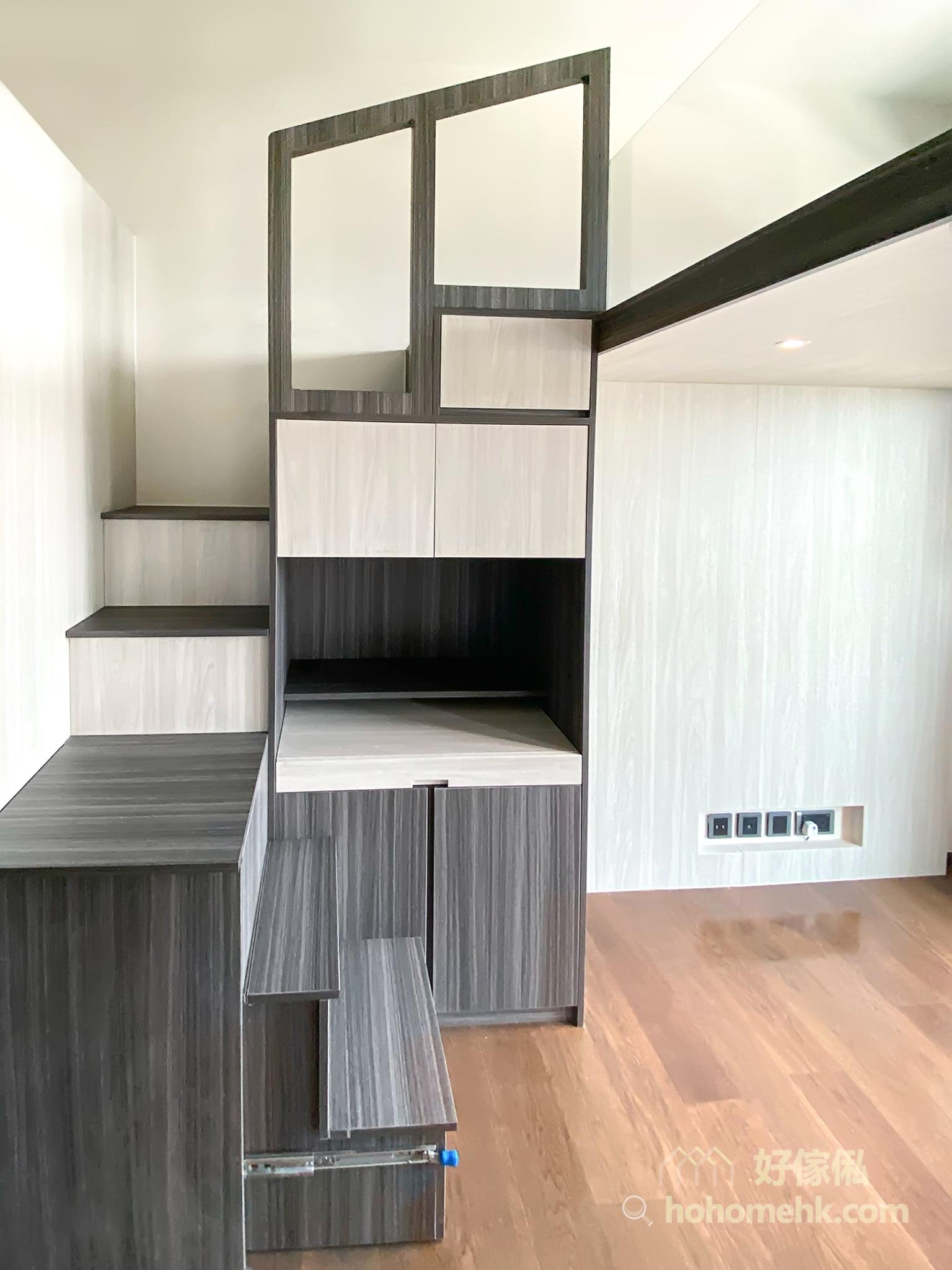 最矮的幾級樓梯可以造成隱形樓梯,平時可以把樓梯推進矮櫃裡,使用時從矮櫃拉出來便多了兩級樓梯,慳位又美觀