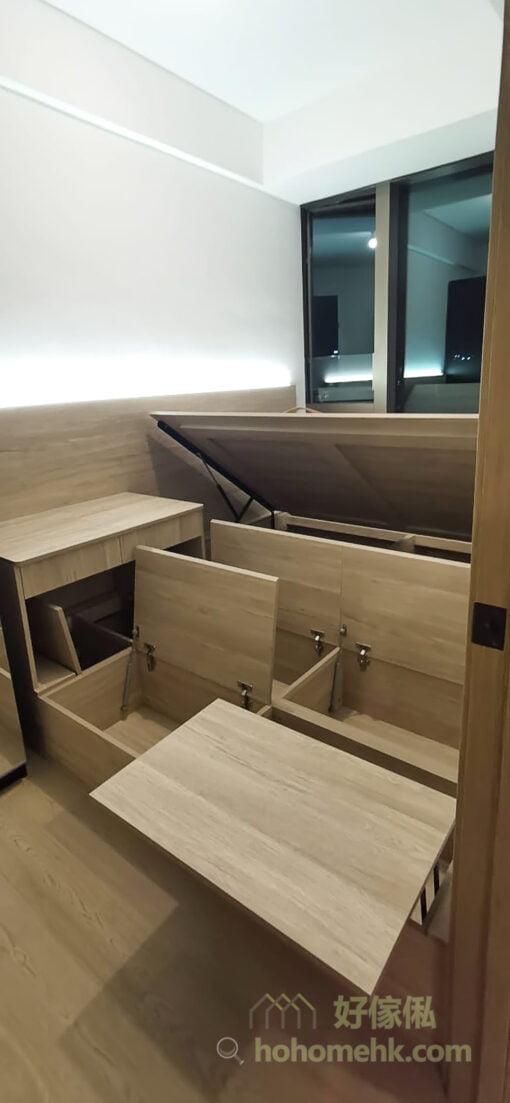 小空間的儲身櫃不宜太多,尤其是高身櫃,所以要用盡每一吋可以作為隱藏式收納空間的地方