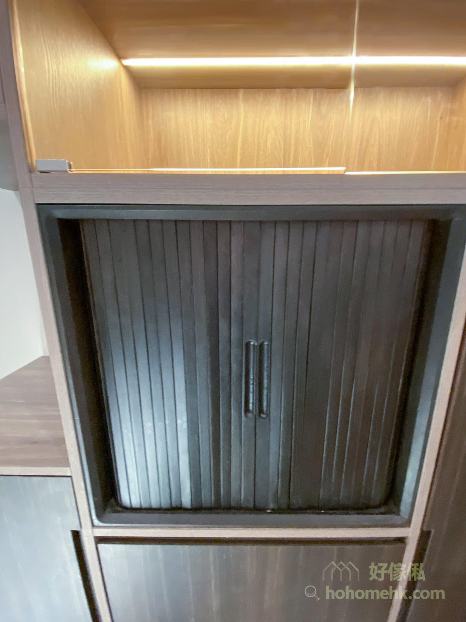 伸縮餐枱連儲物櫃, 雙捲門設計