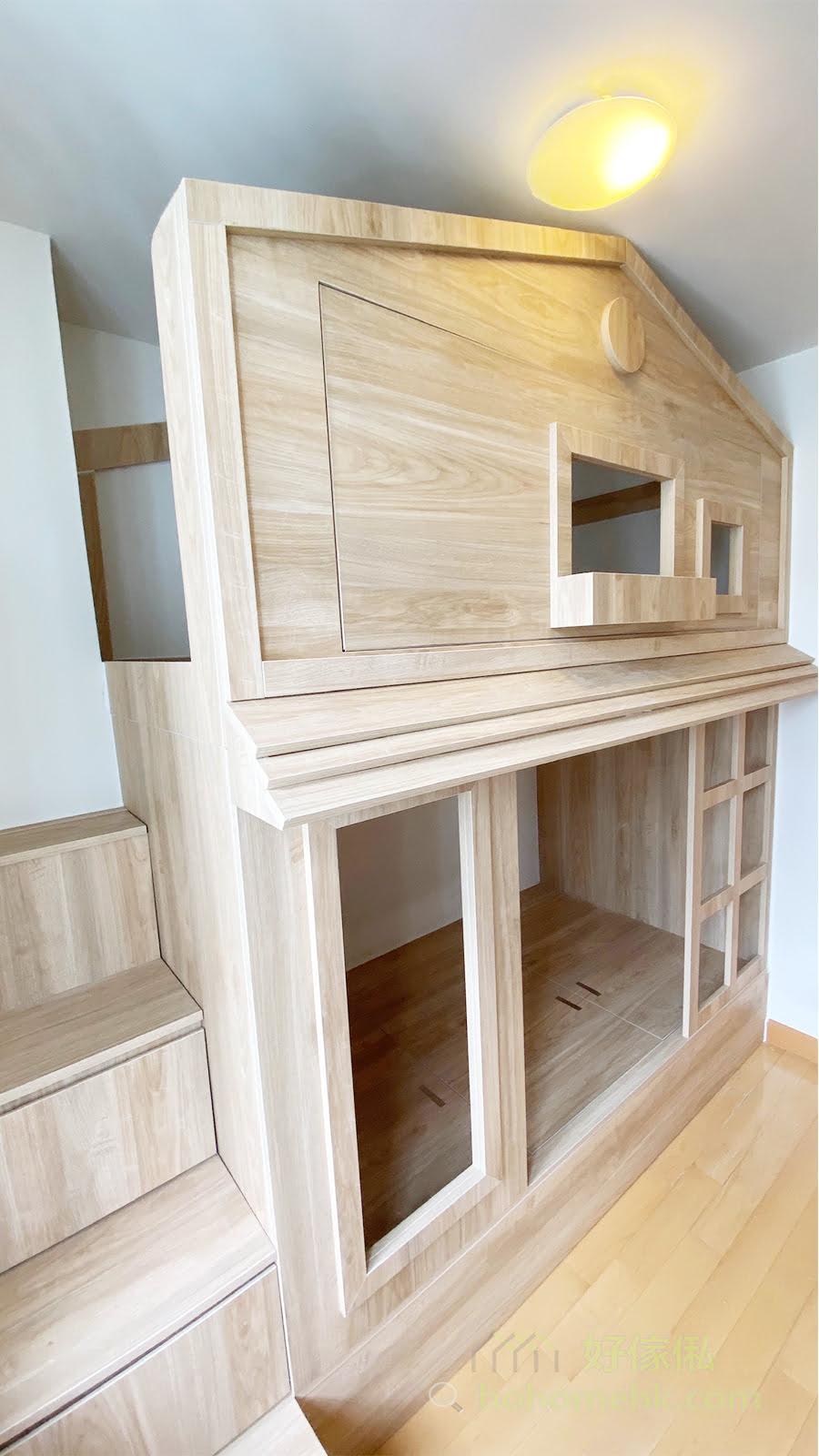 雖然是單色的簡約設計,但屋仔的細節絕不馬虎,運用層次分明的設計打造出屋仔造型