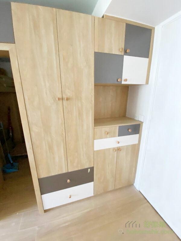 間房櫃在入門處訂製成具衣櫃及鞋櫃功能的C字櫃/玄關櫃
