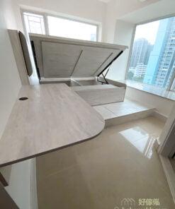 油壓床連地台及書枱/梳妝枱, 轉角位置弧形設計, 書枱不阻通道