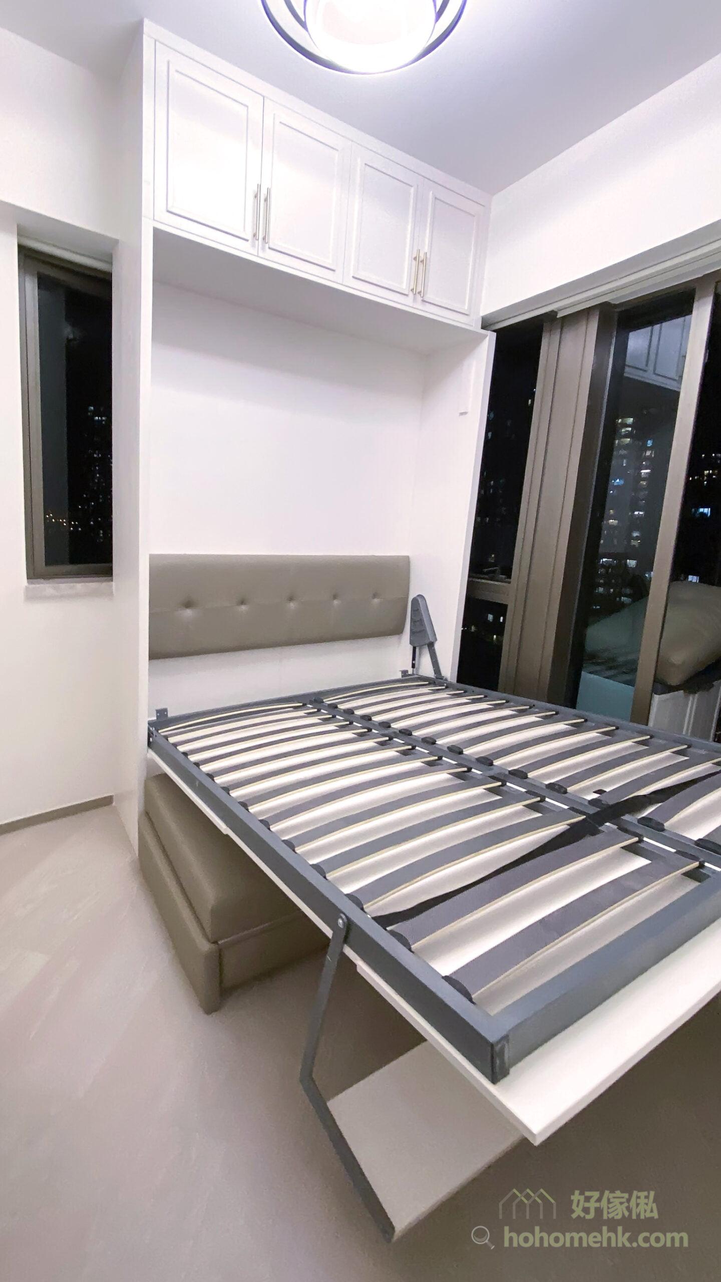 電動變形直翻床/沙發床, 書架做支撐, 受力面積大, 核心更穩重