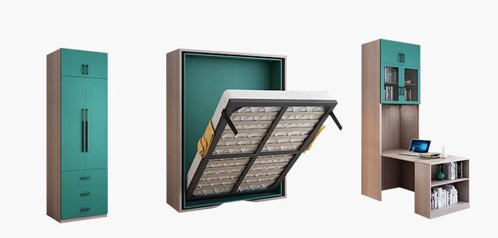 形床周邊的儲物櫃,高度、款式都可以自由訂製,更能配合家裡的層高和收納需要