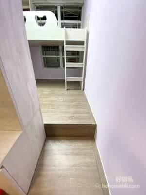 全房地台的設計能夠將儲物空間往下移,並將雜亂隱藏起來,令空間變得寬敞