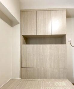 橫樑下造櫃,可解決視覺空間上不平整的問題,同時增加屋內的儲物空間;睡房更可同時避開「橫樑壓頂」的風水問題,睡眠質素也會因此提升