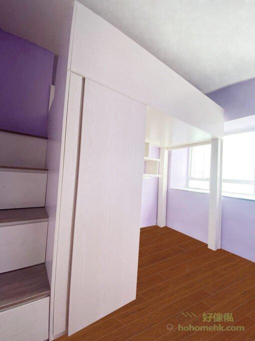 以暖白色調為雙層床的主色調,創造視覺上的舒服感,與薰衣草色映襯之下,恰到好處的柔美、粉嫩,在自然日光的照射之下,不但不會顯得過於甜膩,反而營造出一絲清爽的浪漫氣息,非常適合小女生的睡房