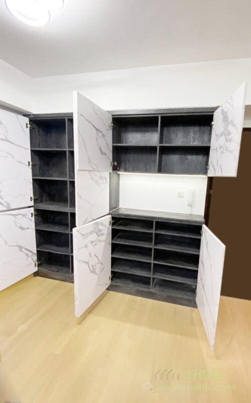 如果空間許可的話,最好可以造平放鞋櫃, 因此鞋櫃的尺寸不可太淺,才可以安排平放的鞋櫃