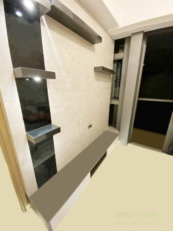 一字型的矮櫃已經足夠整齊擺放影音設備和遊戲機等電器,收納動線也合理,懸空式設計更大大減低櫃身的份量,使客廳更顯簡潔大器