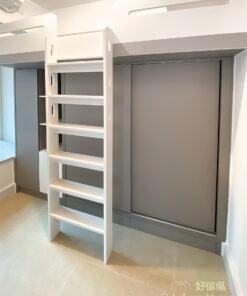 床下儲物櫃包含不同類型的儲物空間,掛衣區、層架、掩門櫃一一俱全,適合存放不同大小和類型的物品
