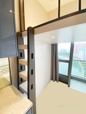 垂直的爬梯是最慳位的做法,對於納米樓來說是最理想的設計,不用浪費太多地面空間
