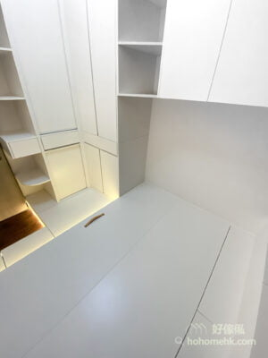 以大面積的白色令房間更光猛,營造寬敞的視覺空間