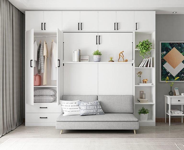 把變形床藏在衣櫃中,讓人第一眼看不出來,自然不突兀,整個空間感都顯得和諧統一