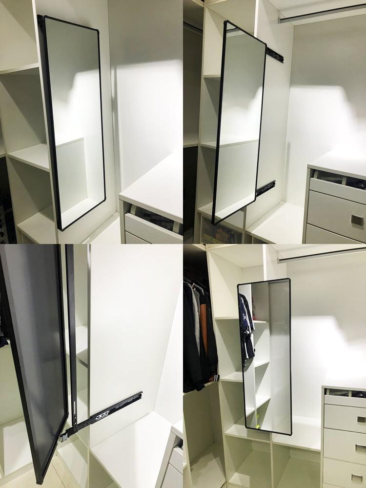 趟門衣櫃可以選擇拉出式的旋轉試衣鏡,同樣需要使用時輕鬆就能拉出,不用時把它藏在衣櫃裡就可以了