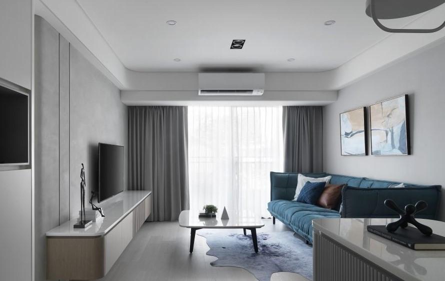 黑白色極簡的個性搭配可以彰顯時尚俐落,也是北歐居家的經典配色,牆面與電視以不同材質的黑色調展現質感
