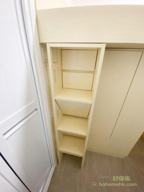 樓梯櫃讓工人姐姐可以輕鬆爬上上格床,同時又有儲物的功能,善用空間