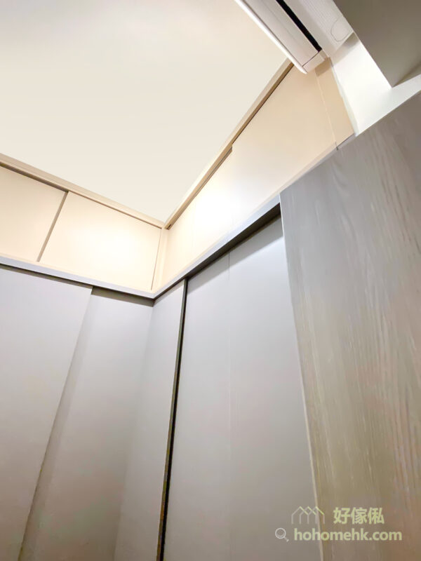 以趟門代替掩門,便不會因冷氣機與吊櫃太過接近而影響櫃門開關