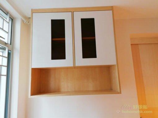 當空間有限時,又想增加儲物容量,吊櫃可以解決部份收納和展示的需要