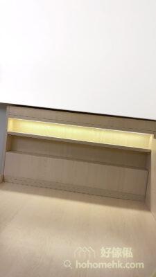 全房以白和米白為主,令空間顯得光猛寬敞,為細小的空間營造最大的視覺空間