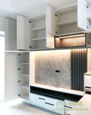 客廳電視櫃連伸縮餐枱, 燈帶可說是為傢俬界的時尚設計必備元素。若隱若現的燈光效果很精緻及富有質感,又可為家裡增添一抹溫暖