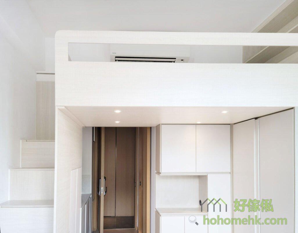 客廳閣樓/閣樓床/樓梯櫃,玻璃圍欄和挖空式設計的圍欄都可以引進最多的光源到閣樓,挖空式設計更加通風透氣